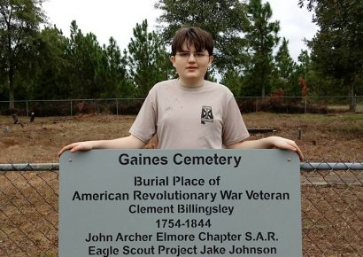 Jake Johnson Installs Special Sign at Gaines Cemetery near Vida as part of Eagle Scout Project