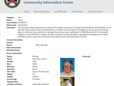 ALEA Issues Missing Senior Alert for 97-Year-Old Tuscaloosa Man