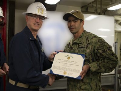 Daniel Frey, of Prattville, Receives his Navy and Marine Corps Commendation Medal