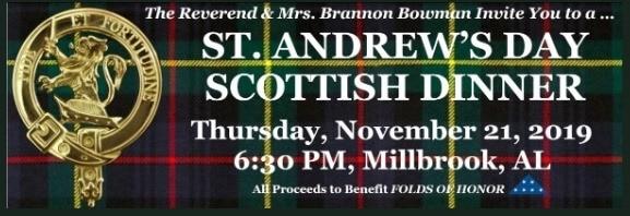Sponsors Needed for Inaugural 2019 St. Andrew's Day Scottish Dinner in Millbrook Nov. 21