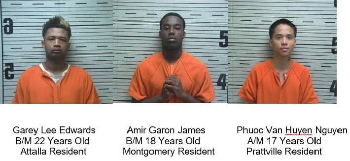 Three Arrested in Prattville Charged with Robbery 1st, Attempted Murder