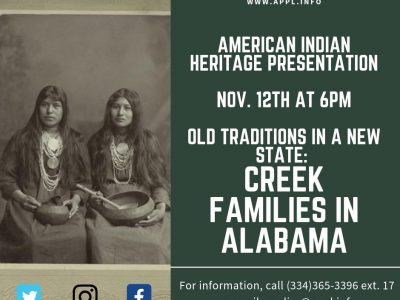 Autauga Prattville Public Library to Present 'Old Traditions in a New State: Creek Families of Alabama' Nov. 12