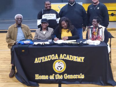 Autauga Academy pitcher Sherrell Matthews signed a letter of intent to play softball at Grambling State University