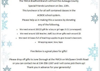 Autauga County Schools Special Friends Christmas Luncheon Slated; Donations Appreciated