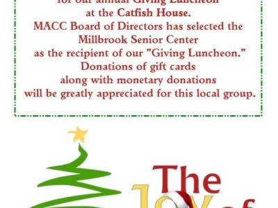 Millbrook Chamber to Host 'Giving Luncheon' Dec. 12 at Catfish House; Donations Benefit Millbrook Senior Center