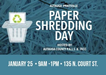 Paper Shredding Day set for Jan. 25 in Prattville; Hosted by P.A.L.S., PASS, IP and Recycle Service Corp