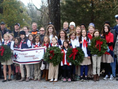 American Heritage Girls, Volunteers Lay Nearly  500 Wreaths on Veterans' Graves at Brookside Funeral Home