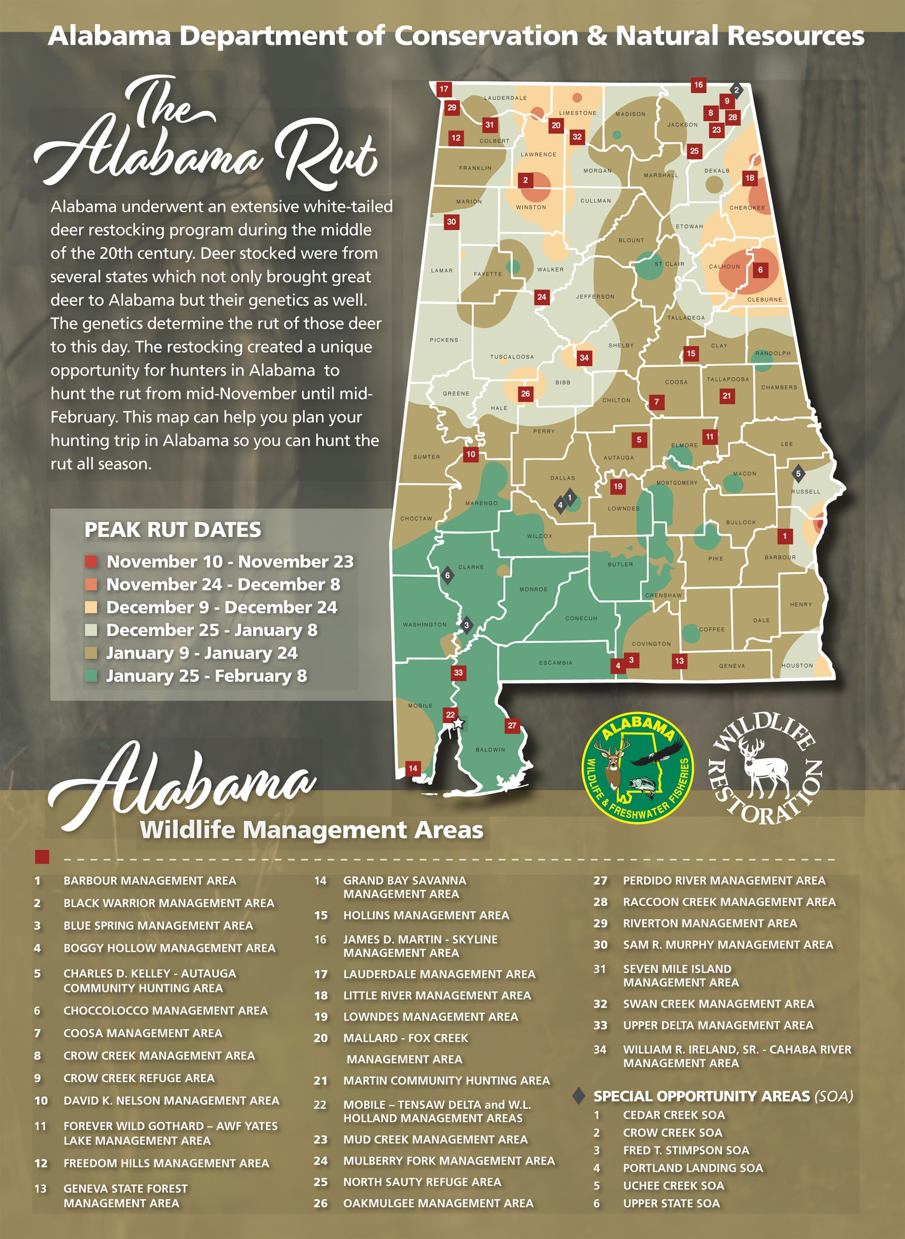 2022 Deer Rut Calendar.Hunters Can Use The Wff Rut Map To Determine The Likely Dates Of Whitetail Breeding Activity Elmore Autauga News