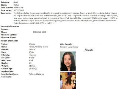 Pelham Police Seek Missing Teenager Amberly Nicole Flores; Please Share!