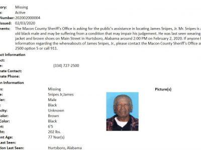 Missing Senior Alert Notification for James Snipes Jr., 77, of Macon County