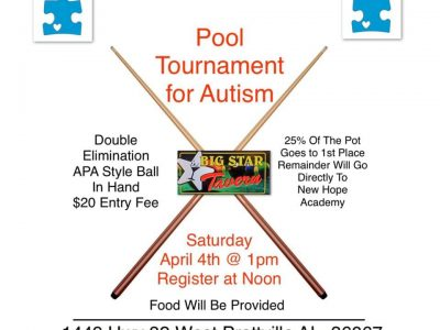 Annual Pool Tournament for Autism Coming to Big Star Tavern April 4; Benefits New Hope Academy