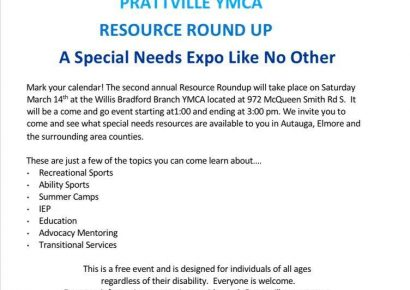 Prattville YMCA Field of Dreams to Host Special Needs Resource Roundup Expo Saturday, March 14