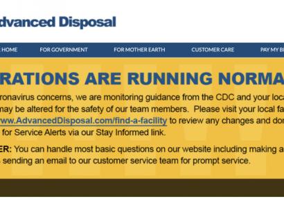Advanced Disposal Announcement: COVID-19 Concerns