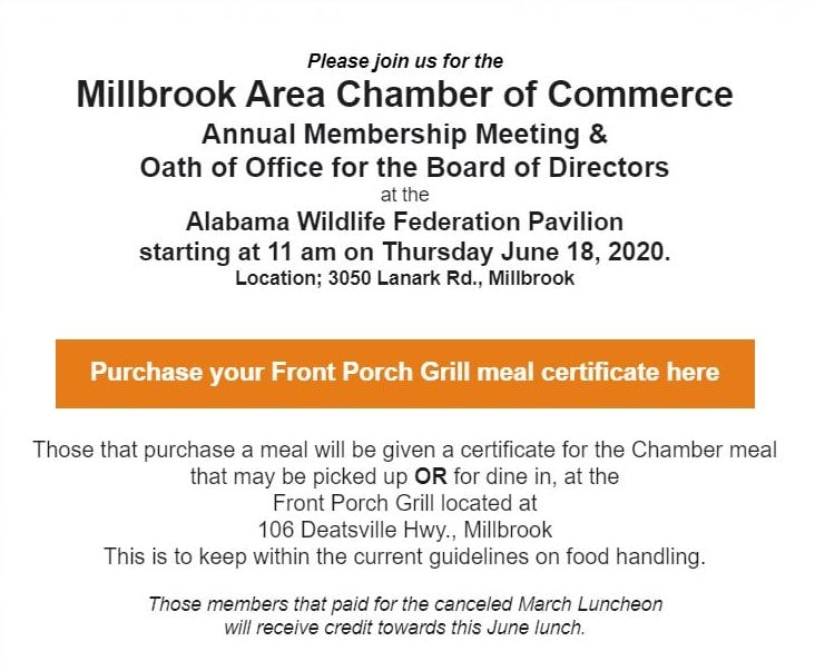 Millbrook Area Chamber S Annual Membership And Oath Of Office Event Coming To Awf Pavilion June 18 Elmore Autauga News