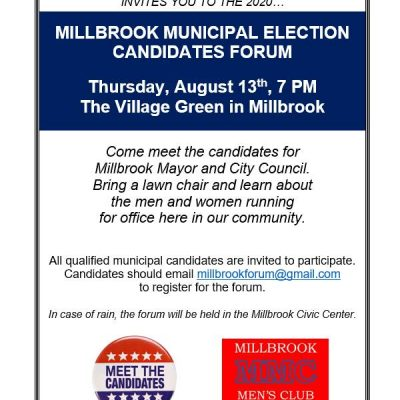 Millbrook Men's Club to Host Municipal Election Candidates Forum Aug. 13 for Mayoral, Council Positions