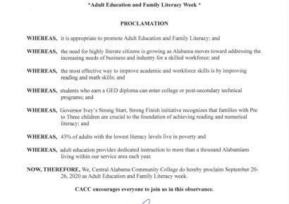 CACC Plans Several Events to Recognize Adult Education and Literacy Week Statewide