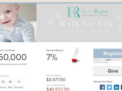 Walk For Life: River Region Pregnancy Center Fundraiser Needs Teams, Donations to Reach $50,000 Goal by Nov. 14