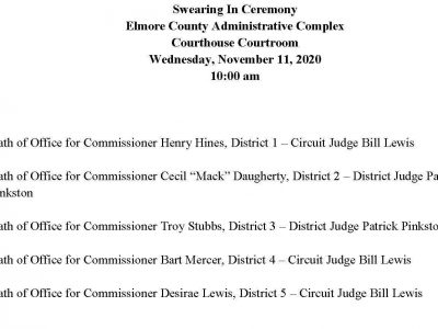 Elmore County Commission to hold Swearing In Ceremony, Followed By Regular meeting Wednesday