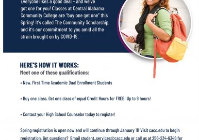 CACC Offering First Time Dual Enrollment Students BOGO Classes for Spring Semester