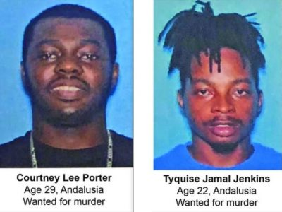 CrimeStoppers Seeks Information on Two Suspects Wanted for Murder in Andalusia; Reward Offered