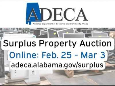 ADECA's Announces Online State Surplus Property Auction is Feb. 25-March 3