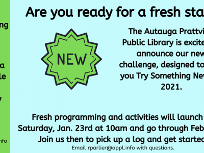 Autauga Prattville Public Library's Upcoming Schedule Has Variety; Try Something New