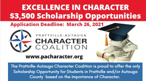 Prattville-Autauga Character Coalition Will Present Two $3,500 Scholarships; Applications Due March 26