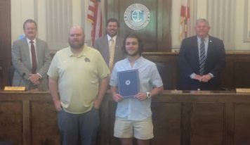 WHS' Mason Blackwell Recognized by Elmore Commission as State Champion Wrestler